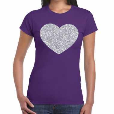 Zilveren hart glitter paars dames t-shirt kopen