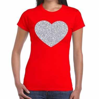 Zilveren hart glitter rood dames t-shirt kopen
