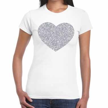 Zilveren hart glitter wit dames t-shirt kopen