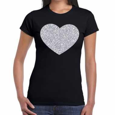 Zilveren hart glitter zwart dames t-shirt kopen