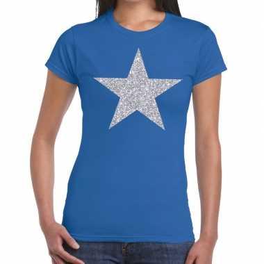 Zilveren ster glitter blauw dames t-shirt kopen