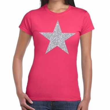 Zilveren ster glitter fuchsia roze dames t-shirt kopen