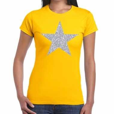 Zilveren ster glitter geel dames t-shirt kopen