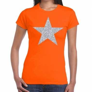 Zilveren ster glitter oranje dames t-shirt kopen