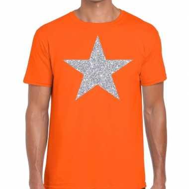 Zilveren ster glitter oranje heren t-shirt kopen