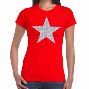 Zilveren ster glitter rood dames t-shirt kopen
