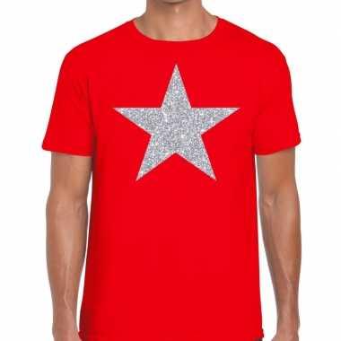 Zilveren ster glitter rood heren t-shirt kopen