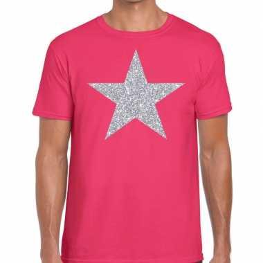 Zilveren ster glitter roze heren t-shirt kopen