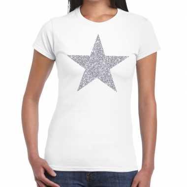 Zilveren ster glitter wit dames t-shirt kopen