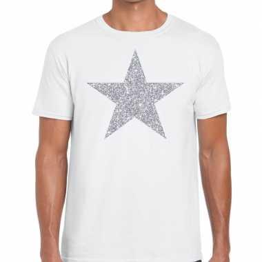 Zilveren ster glitter wit heren t-shirt kopen
