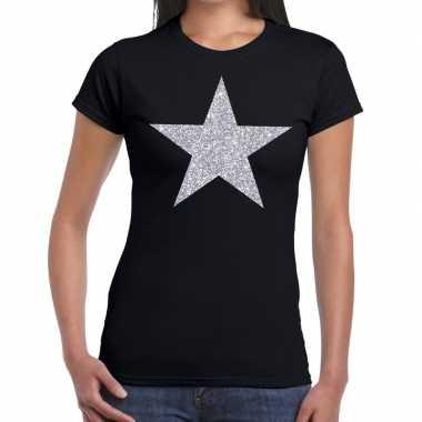 Zilveren ster glitter zwart dames t-shirt kopen