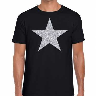 Zilveren ster glitter zwart heren t-shirt kopen