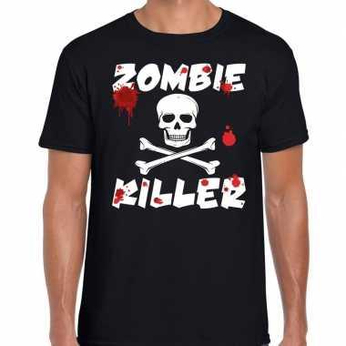 Zombie killer halloween zwart heren t-shirt