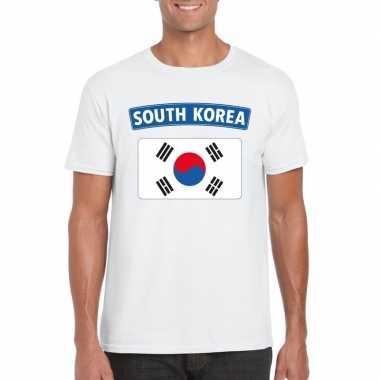 Zuid koreaanse vlag wit heren t-shirt