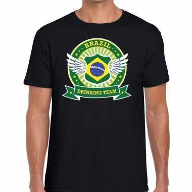 Zwart brazil drinking team heren t-shirt kopen