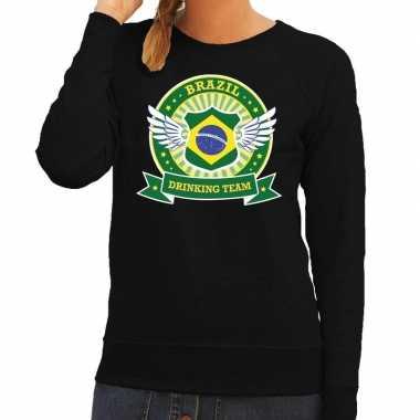 Zwart brazil drinking team sweater dames t-shirt kopen