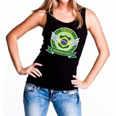 Zwart brazil drinking team tanktop / mouwloos dames t-shirt kopen