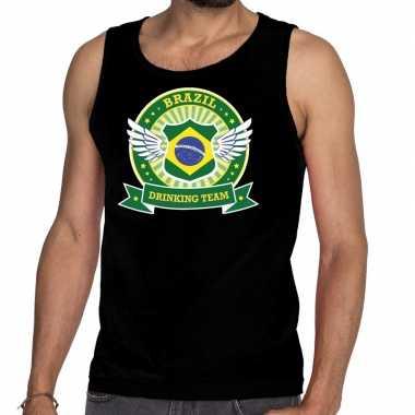 Zwart brazil drinking team tanktop / mouwloos heren t-shirt kopen
