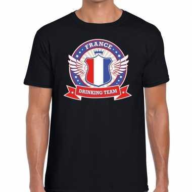 Zwart france drinking team heren t-shirt kopen