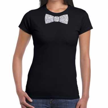 Zwart fun vlinderdas glitter zilver dames t-shirt kopen