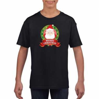 Zwart kerst kinderen kerstman print t-shirt kopen