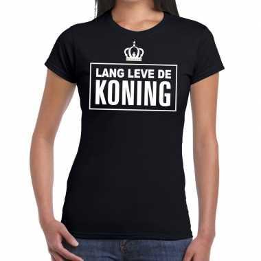Zwart lang leve koning dames t-shirt kopen