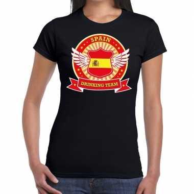Zwart spain drinking team dames t-shirt kopen