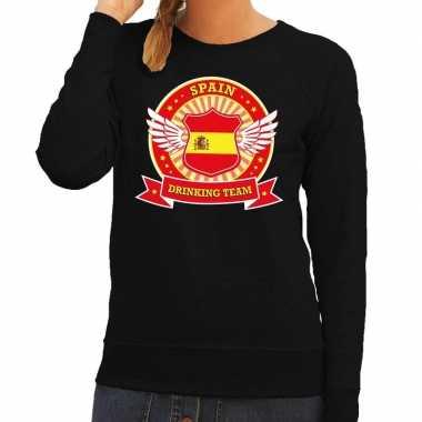 Zwart spain drinking team sweater dames t-shirt kopen