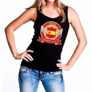 Zwart spain drinking team tanktop / mouwloos dames t-shirt kopen