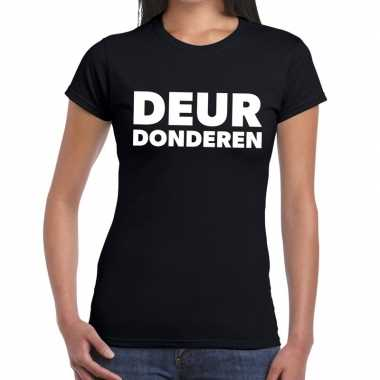 Zwarte cross deur donderen zwart festival dames t-shirt kopen