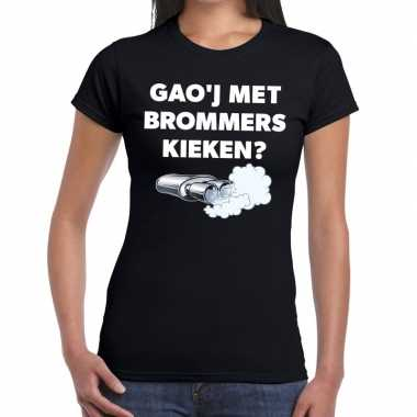 Zwarte cross gaoj brommers kieken festival zwart dam t-shirt kopen