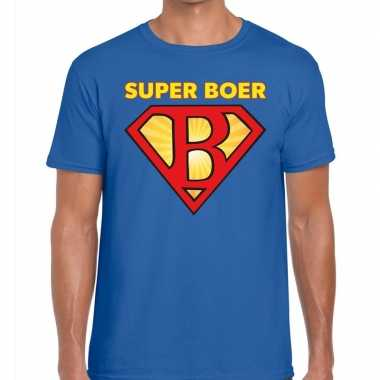 Zwarte cross super boer festival blauw heren t-shirt kopen