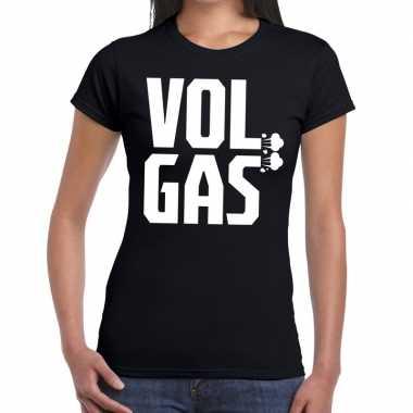 Zwarte cross vol gas festival zwart dames t-shirt kopen