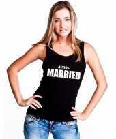 Almost married tekst single tanktop zwart dames t-shirt