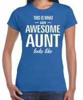 Awesome aunt tante cadeau blauw dames t-shirt