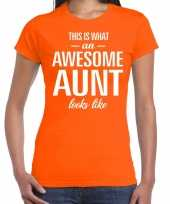 Awesome aunt tante cadeau oranje dames t-shirt