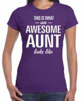 Awesome aunt tante cadeau paars dames t-shirt