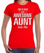 Awesome aunt tante cadeau rood dames t-shirt