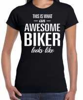 Awesome biker motorrijdster cadeau zwart dames t shirt