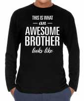 Awesome brother broer cadeau long sleeves heren t-shirt
