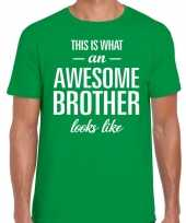 Awesome brother tekst groen heren t-shirt