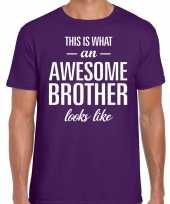 Awesome brother tekst paars heren t-shirt
