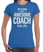 Awesome coach cadeau blauw dames t-shirt