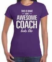 Awesome coach cadeau paars dames t-shirt
