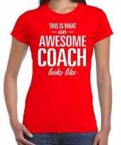 Awesome coach cadeau rood dames t-shirt