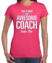 Awesome coach cadeau roze dames t-shirt