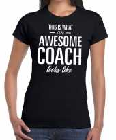 Awesome coach cadeau zwart dames t-shirt