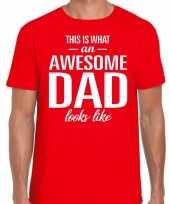 Awesome dad cadeau rood heren vaderdag cadeau t shirt