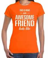 Awesome friend cadeau oranje dames t-shirt