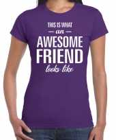 Awesome friend cadeau paars dames t-shirt
